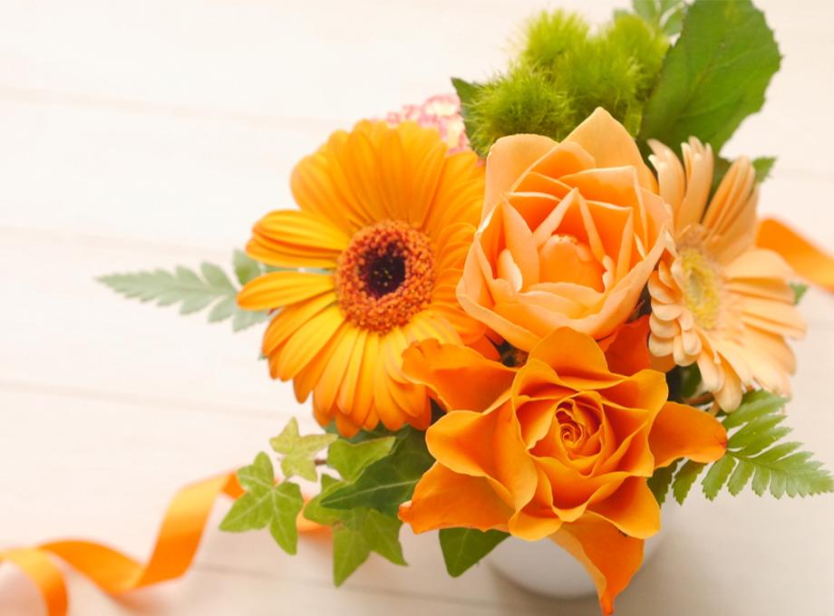 オレンジ色の花束